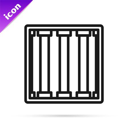 Black line Prison window icon isolated on white background. Vector Illustration