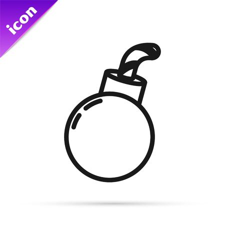 Black line Bomb ready to explode icon isolated on white background. Happy Halloween party. Vector Illustration