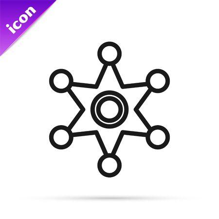 Black line Hexagram sheriff icon isolated on white background. Police badge icon. Vector Illustration Çizim