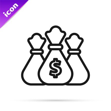 Black line Money bag icon isolated on white background. Dollar or USD symbol. Cash Banking currency sign. Vector Illustration Stok Fotoğraf - 133812840