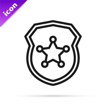 Black line Police badge icon isolated on white background. Sheriff badge sign. Vector Illustration Çizim