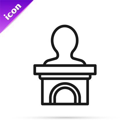 Black line Stage stand or debate podium rostrum icon isolated on white background. Conference speech tribune. Vector Illustration