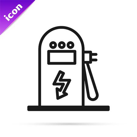 Black line Electric car charging station icon isolated on white background. Eco electric fuel pump sign. Vector Illustration Ilustrace