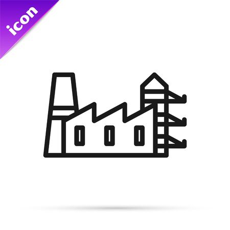 Black line Power station plant and factory icon isolated on white background. Energy industrial concept. Vector Illustration Banque d'images - 133814207