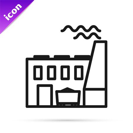 Black line Coal power plant and factory icon isolated on white background. Energy industrial concept. Coal power station. Vector Illustration Banque d'images - 133814209