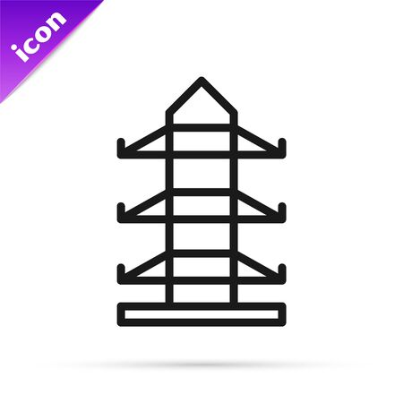 Black line Electric tower used to support an overhead power line icon isolated on white background. High voltage power pole line. Vector Illustration