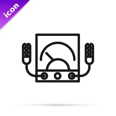 Black line Ampere meter, multimeter, voltmeter icon isolated on white background. Instruments for measurement of electric current. Vector Illustration Vectores