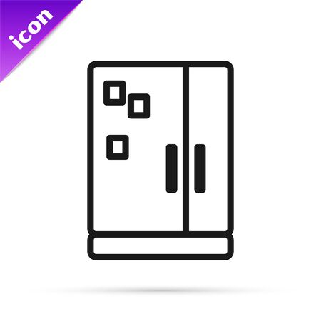 Black line Refrigerator icon isolated on white background. Fridge freezer refrigerator. Household tech and appliances. Vector Illustration