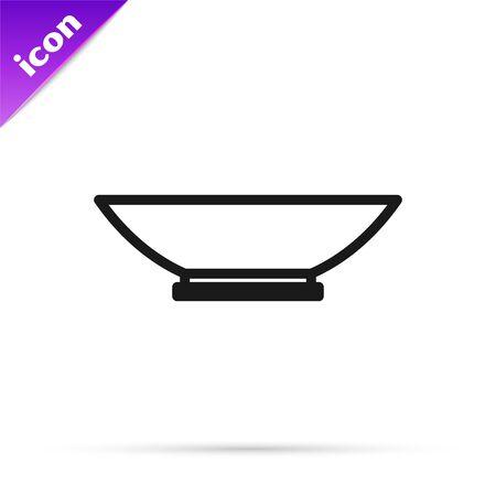 Black line Bowl icon isolated on white background. Vector Illustration