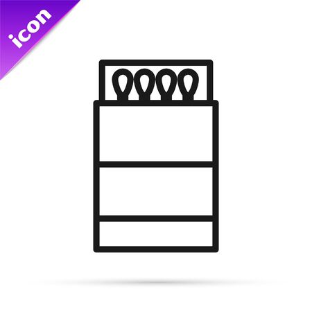 Black line Open matchbox and matches icon isolated on white background. Vector Illustration