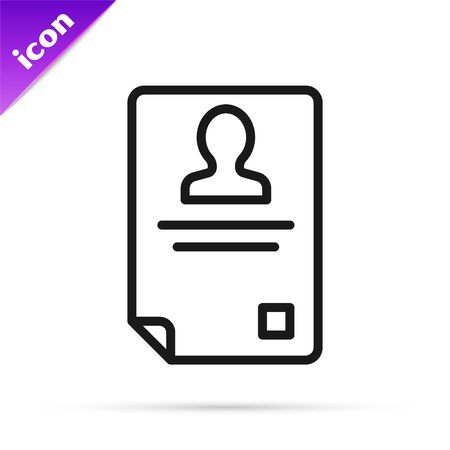 Black line Identification badge icon isolated on white background. It can be used for presentation, identity of the company, advertising. Vector Illustration