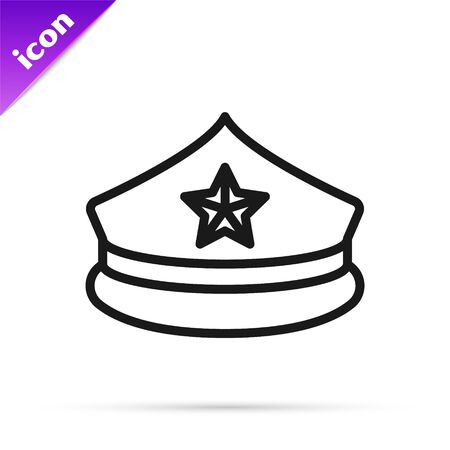 Black line Police cap with cockade icon isolated on white background. Police hat sign. Vector Illustration