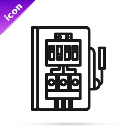 Black line Electrical panel icon isolated on white background. Vector Illustration