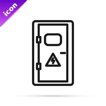 Black line Electrical cabinet icon isolated on white background. Vector Illustration