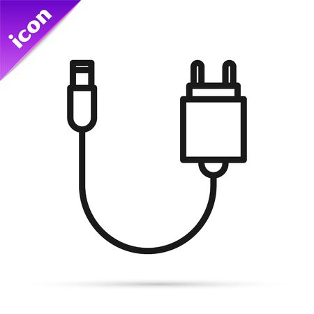 Black line Charger icon isolated on white background. Vector Illustration