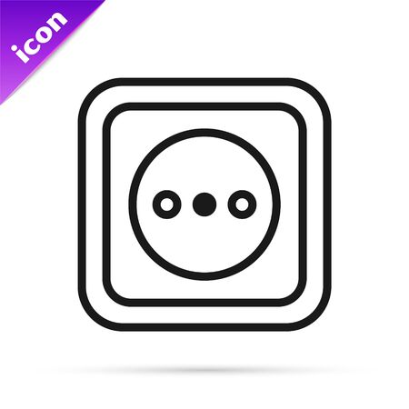 Black line Electrical outlet icon isolated on white background. Power socket. Rosette symbol. Vector Illustration