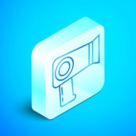 Isometric line Hair dryer icon isolated on blue background. Hairdryer sign. Hair drying symbol. Blowing hot air. Silver square button. Vector Illustration Stockfoto - 133851492