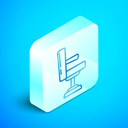 Isometric line Barbershop chair icon isolated on blue background. Barber armchair sign. Silver square button. Vector Illustration