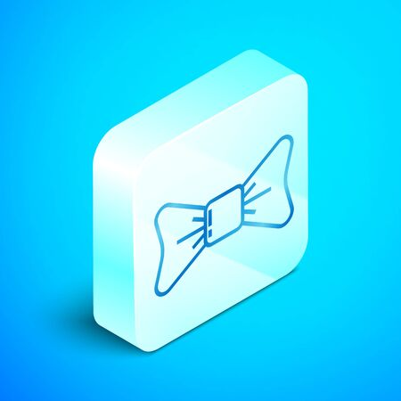 Isometric line Bow tie icon isolated on blue background. Silver square button. Vector Illustration