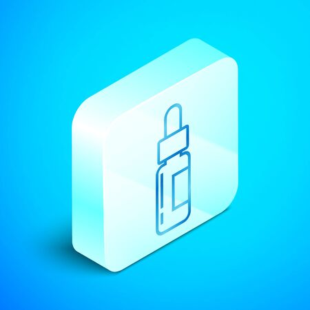Isometric line Glass bottle with a pipette. Vial with a pipette inside icon isolated on blue background. Container for medical and cosmetic product. Silver square button. Vector Illustration