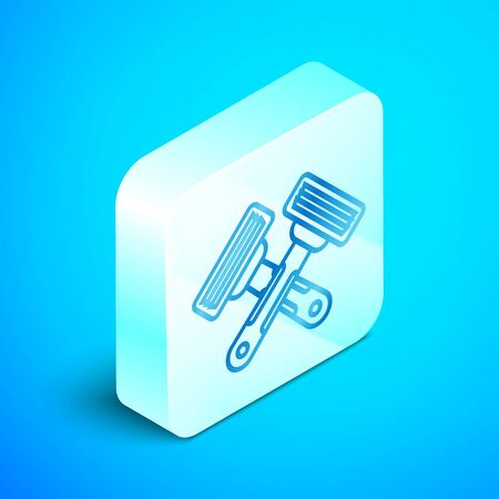 Isometric line Crossed shaving razor icon isolated on blue background. Silver square button. Vector Illustration