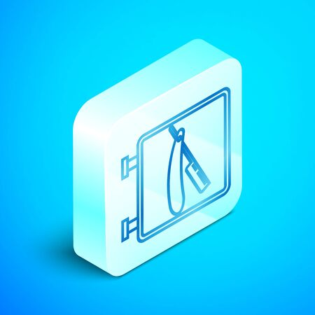 Isometric line Barbershop with razor icon isolated on blue background. Hairdresser signboard. Silver square button. Vector Illustration