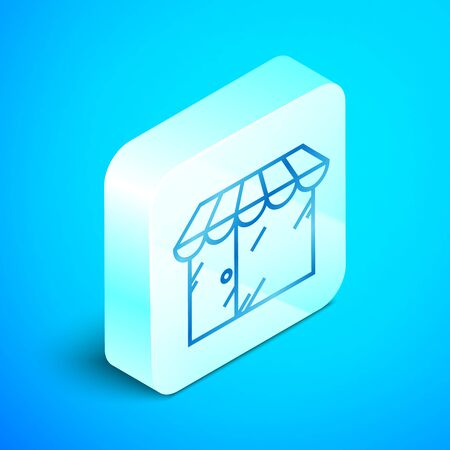 Isometric line Barbershop building icon isolated on blue background. Silver square button. Vector Illustration