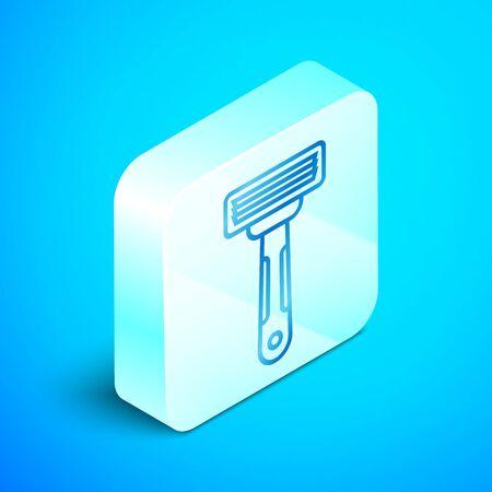 Isometric line Shaving razor icon isolated on blue background. Silver square button. Vector Illustration Illustration