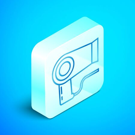 Isometric line Hair dryer icon isolated on blue background. Hairdryer sign. Hair drying symbol. Blowing hot air. Silver square button. Vector Illustration Stockfoto - 133851538