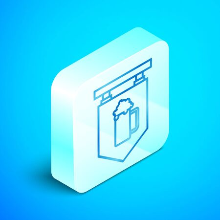 Isometric line Street signboard with glass of beer icon isolated on blue background. Suitable for advertisements bar, cafe, pub, restaurant. Silver square button. Vector Illustration Ilustração