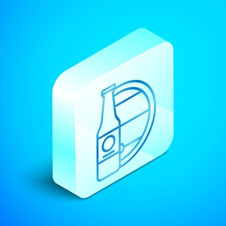 Isometric line Beer bottle and wooden barrel icon isolated on blue background. Silver square button. Vector Illustration