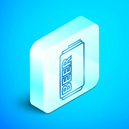 Isometric line Beer can icon isolated on blue background. Silver square button. Vector Illustration