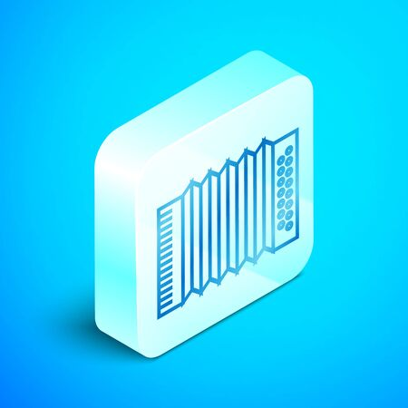 Isometric line Musical instrument accordion icon isolated on blue background. Classical bayan, harmonic. Silver square button. Vector Illustration Ilustração