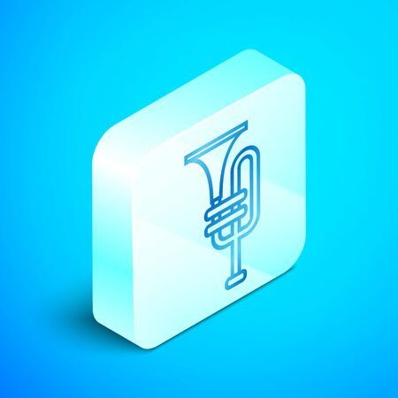 Isometric line Musical instrument trumpet icon isolated on blue background. Silver square button. Vector Illustration