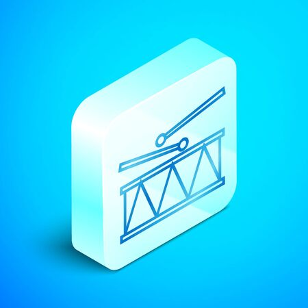 Isometric line Musical instrument drum and drum sticks icon isolated on blue background. Silver square button. Vector Illustration
