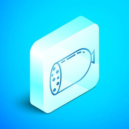 Isometric line Salami sausage icon isolated on blue background. Meat delicatessen product. Silver square button. Vector Illustration