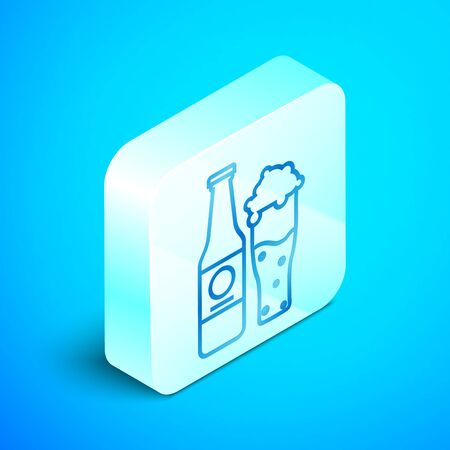 Isometric line Beer bottle and glass icon isolated on blue background. Alcohol Drink symbol. Silver square button. Vector Illustration