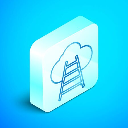 Isometric line Ladder leading to cloud icon isolated on blue background. Stairs leading to the cloud. Silver square button. Vector Illustration 스톡 콘텐츠 - 133851619
