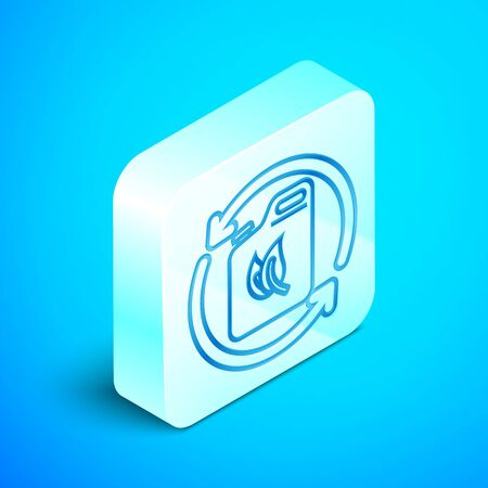 Isometric line Bio fuel canister icon isolated on blue background. Eco bio and barrel. Green environment and recycle. Silver square button. Vector Illustration Banque d'images - 133851621