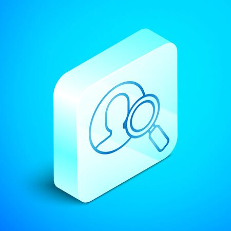 Isometric line Magnifying glass for search a people icon isolated on blue background. Recruitment or selection concept. Search for employees and job. Silver square button. Vector Illustration