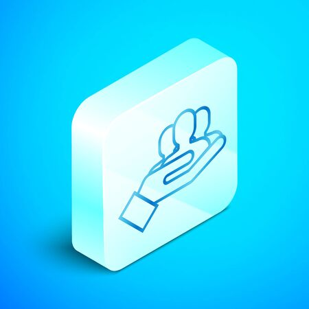 Isometric line Project team base icon isolated on blue background. Business analysis and planning, consulting, team work, project management. Silver square button. Vector Illustration Standard-Bild - 133851669