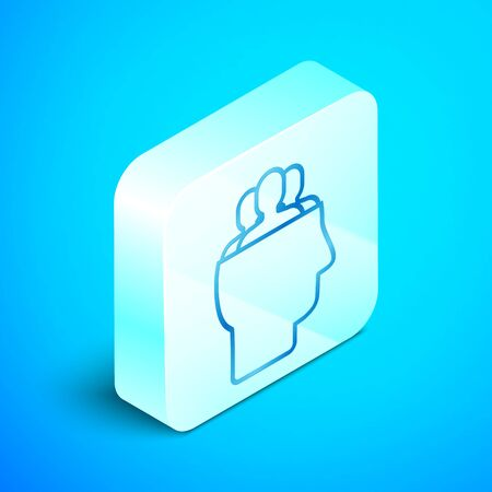 Isometric line Project team base icon isolated on blue background. Business analysis and planning, consulting, team work, project management. Silver square button. Vector Illustration Standard-Bild - 133851678