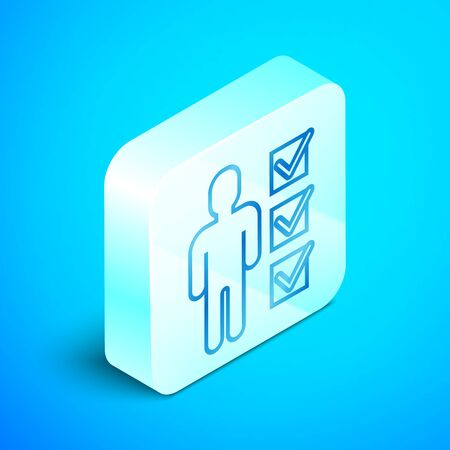 Isometric line User of man in business suit icon isolated on blue background. Business avatar symbol user profile icon. Male user sign. Silver square button. Vector Illustration Standard-Bild - 133851684