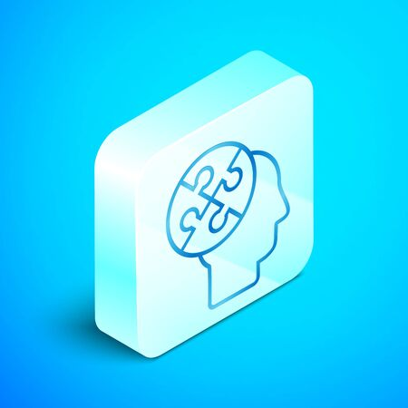 Isometric line Human head puzzles strategy icon isolated on blue background. Thinking brain sign. Symbol work of brain. Silver square button. Vector Illustration Standard-Bild - 133851685
