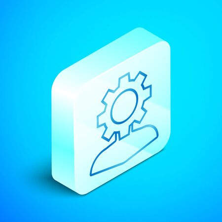 Isometric line Human with gear inside icon isolated on blue background. Artificial intelligence. Thinking brain sign. Symbol work of brain. Silver square button. Vector Illustration