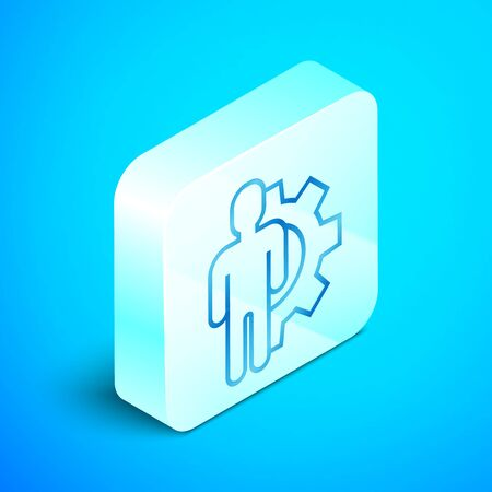 Isometric line Human with gear inside icon isolated on blue background. Artificial intelligence. Thinking brain sign. Symbol work of brain. Silver square button. Vector Illustration Standard-Bild - 133851687