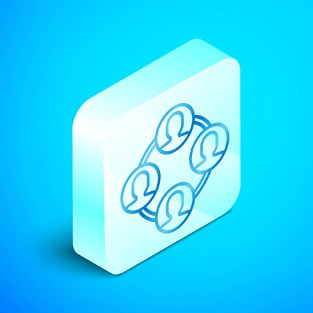 Isometric line Project team base icon isolated on blue background. Business analysis and planning, consulting, team work, project management. Silver square button. Vector Illustration Standard-Bild - 133851696