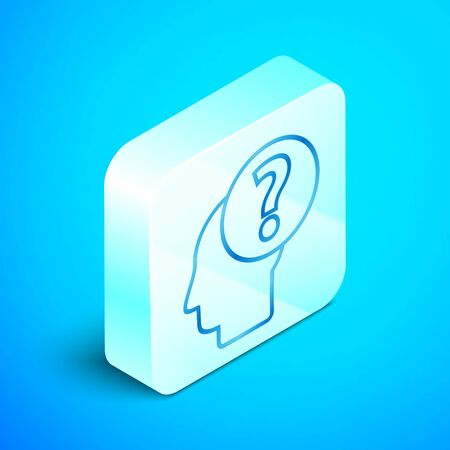 Isometric line Human head with question mark icon isolated on blue background. Silver square button. Vector Illustration Standard-Bild - 133851695