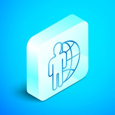 Isometric line Globe and people icon isolated on blue background. Global business symbol. Social network icon. Silver square button. Vector Illustration Banque d'images - 133851713