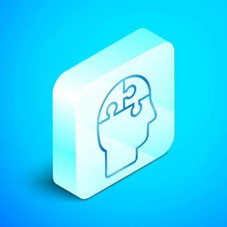 Isometric line Human head puzzles strategy icon isolated on blue background. Thinking brain sign. Symbol work of brain. Silver square button. Vector Illustration